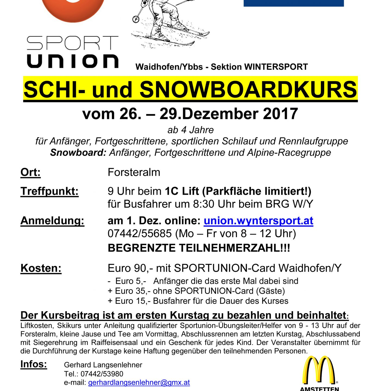 Kinder Schi- und Snowboardkurs 2017