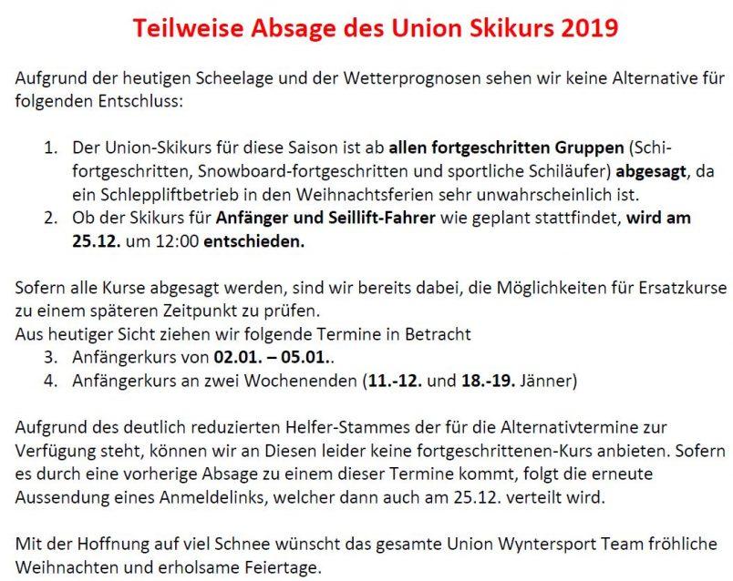 Teilweise Absage Kinder Ski- und Snowboardkurs 2019
