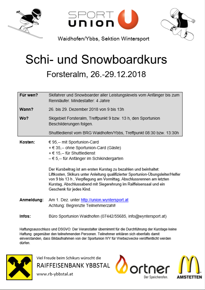 Schi- und Snowboardkurs 2018